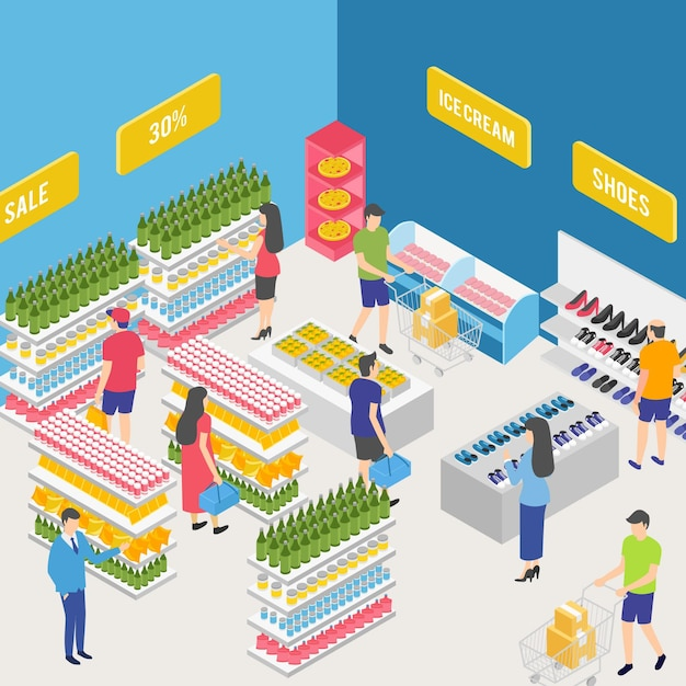 Isometrische supermarkt concept Gratis Vector