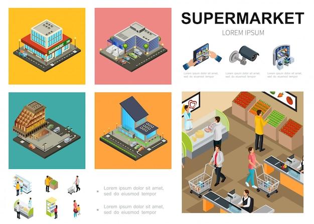 Isometrische supermarkt sjabloon met winkelcentrum exterieurs videobewakingssysteem klanten die verschillende producten in de hal van de hypermarkt kopen Gratis Vector