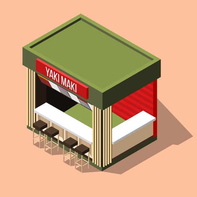 Isometrische sushi bar achtergrond Gratis Vector