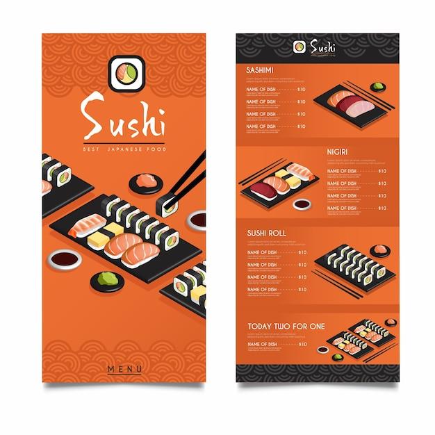 Isometrische sushi restaurant menusjabloon Gratis Vector