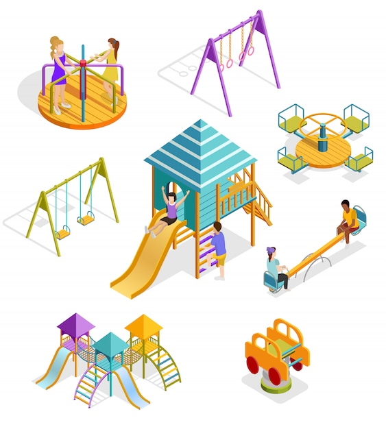 Isometrische swingende kinderen icon set Gratis Vector
