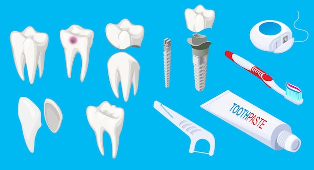 Isometrische tandheelkundige elementen set met zieke en gezonde tanden implantaten tandpasta schraper tandenborstel floss geïsoleerd Gratis Vector