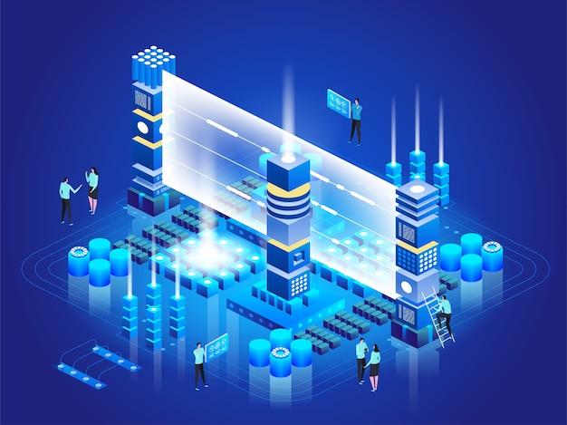 Isometrische technologie concept. database netwerkbeheer. big data-verwerking, energiestation van de toekomst. it-technicus die server draait. cloud service. digitale informatie. illustratie Premium Vector