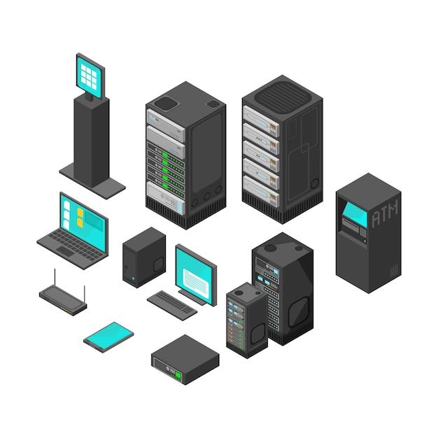 Isometrische technologie en bankwezenpictogrammen. platte vectorillustratie computer en laptop met systeemhardwarevoorzien van een netwerk Premium Vector