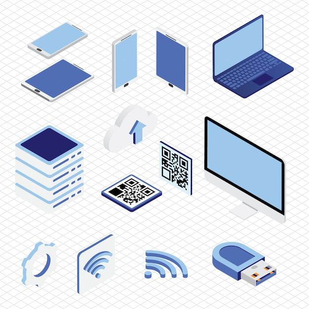 Isometrische technologie verzameling ingesteld Premium Vector