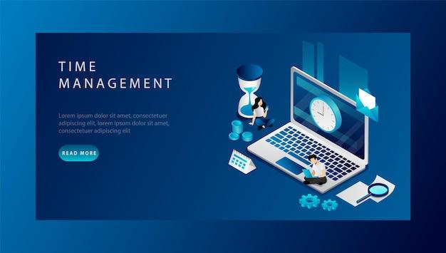 Isometrische time management concept. website bestemmingspagina. mensen uit het bedrijfsleven plannen hun werktijd. man en vrouw doen hun werk op tijd na deadlines. webpagina cartoon vectorillustratie. Premium Vector