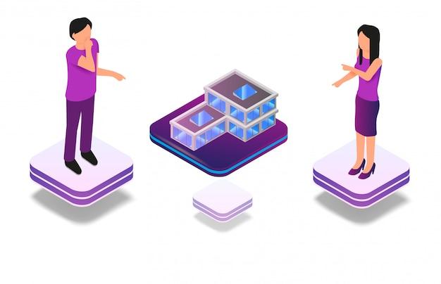 Isometrische toegevoegde virtuele realiteit voor architect Gratis Vector