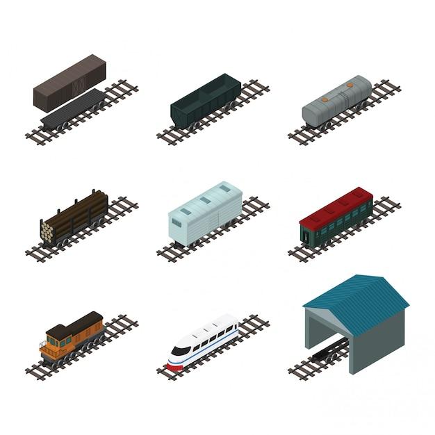 Isometrische treinelementen Premium Vector