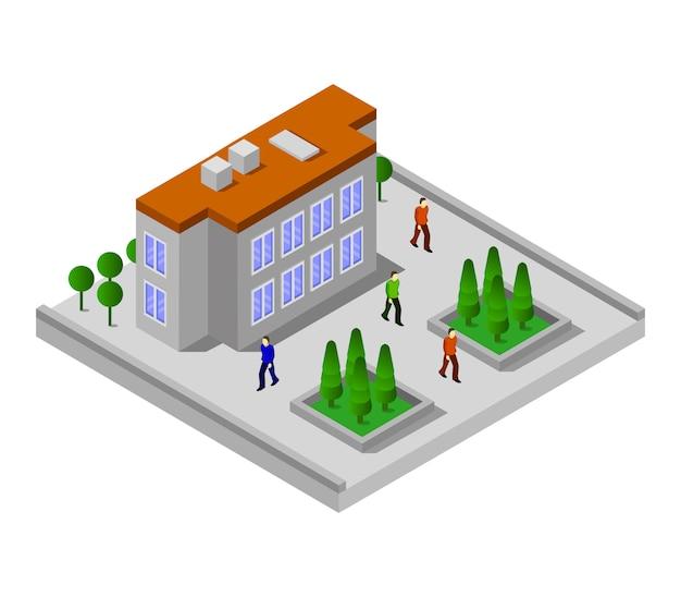 Isometrische universiteit Premium Vector