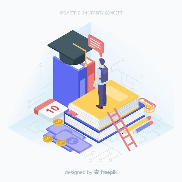 Isometrische universiteitsachtergrond Gratis Vector