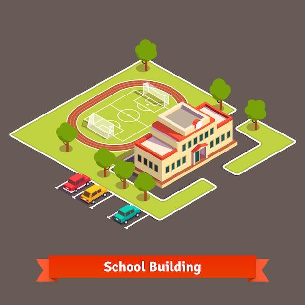 Isometrische universiteitscampus of schoolgebouw Gratis Vector