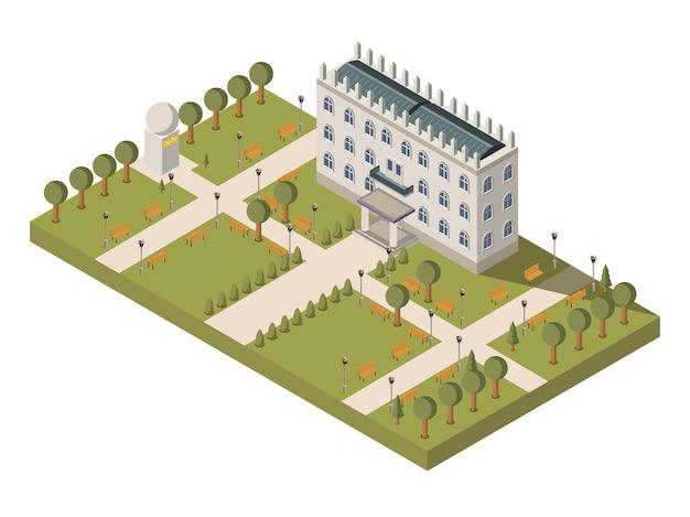Isometrische universiteitssamenstelling Gratis Vector