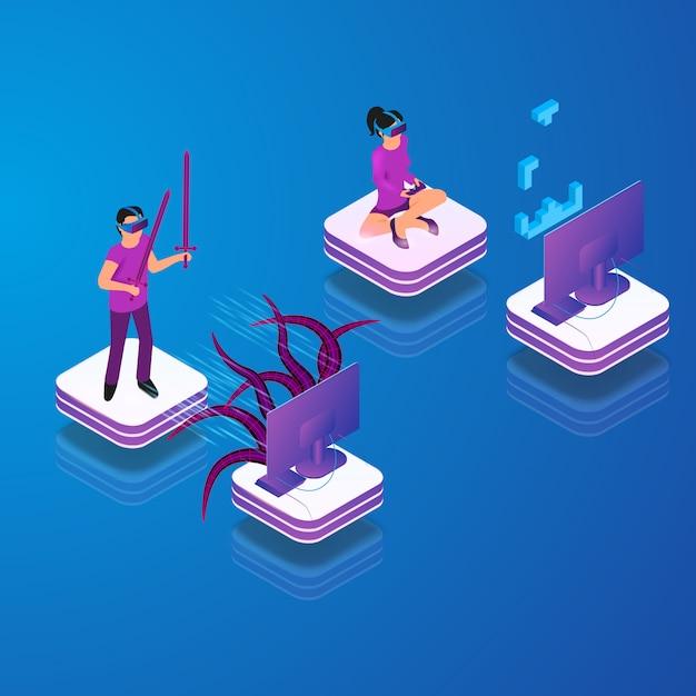 Isometrische vector gaming in virtual reality in 3d Gratis Vector