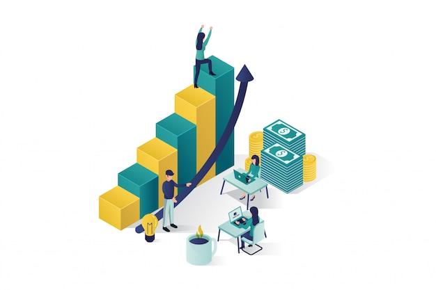 Isometrische vectorillustratie een groep mensen personages bereiden een zakelijk project opstarten. opkomst van de carrière naar succes, business isometrisch, business analyse Premium Vector