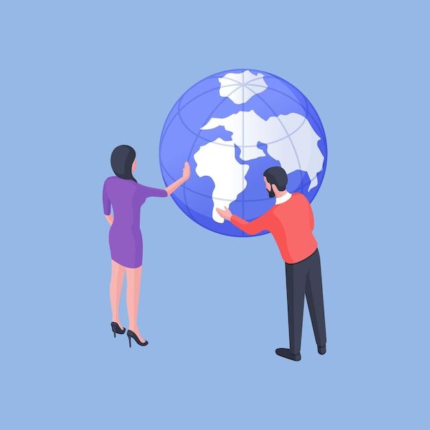 Isometrische vectorillustratie van man en vrouw die continenten op wereldbol onderzoeken en bestemming voor vakantie op heldere blauwe achtergrond zoeken Premium Vector