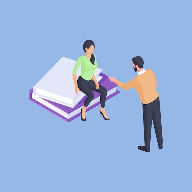 Isometrische vectorillustratie van mannelijke tutor lezingen slimme vrouwelijke student zittend op boeken tijdens universitaire studies tegen helder blauwe achtergrond Premium Vector