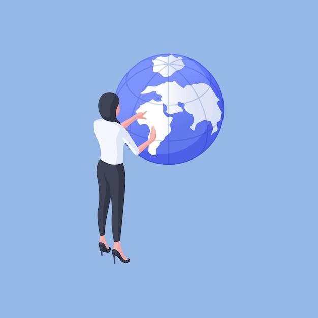 Isometrische vectorillustratie van moderne vrouw die wereldbol onderzoekt en plaats voor vakantie kiest terwijl het plannen van reis tegen helderblauwe achtergrond Premium Vector