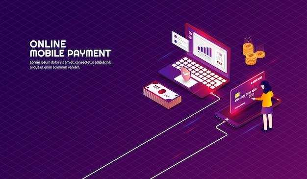 Isometrische veilige en veiligheids online betalingsachtergrond Premium Vector