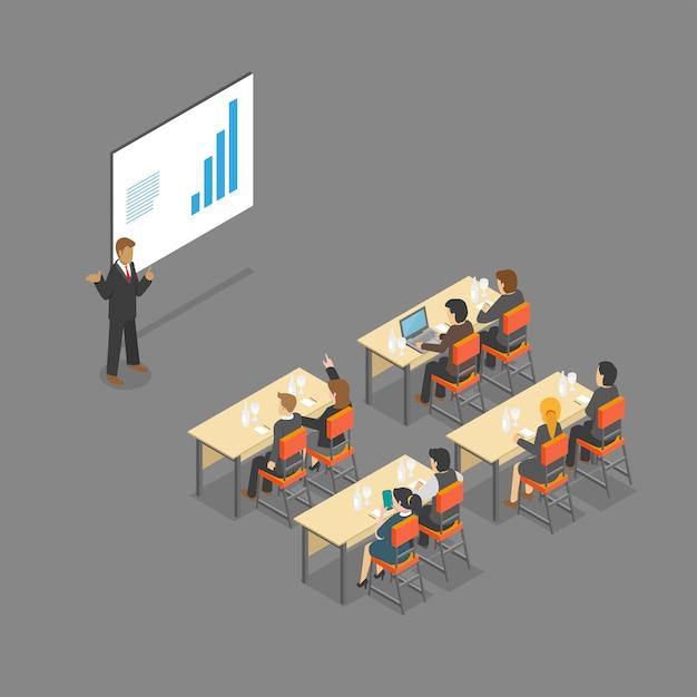 Isometrische vergaderruimte vergaderzaal Premium Vector