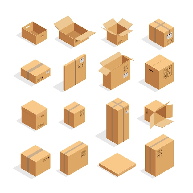 Isometrische verpakkingsdozen instellen Gratis Vector