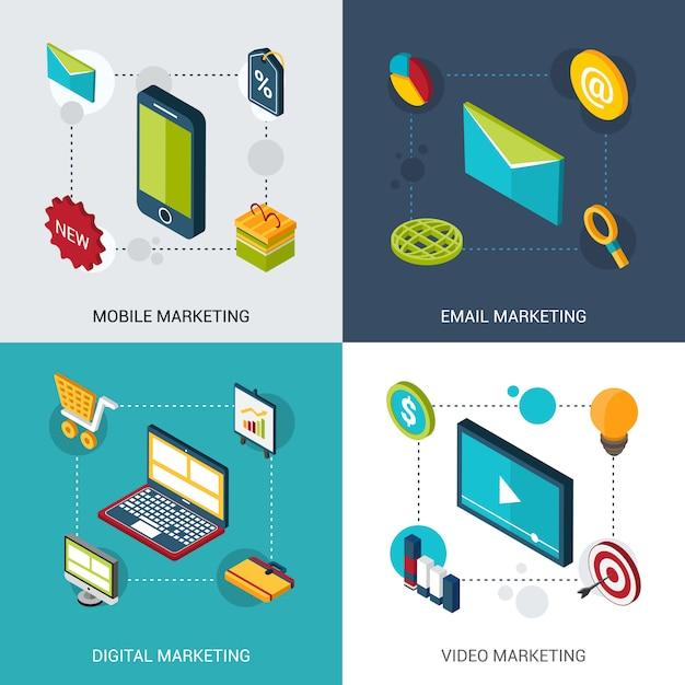 Isometrische verzameling marketing Gratis Vector