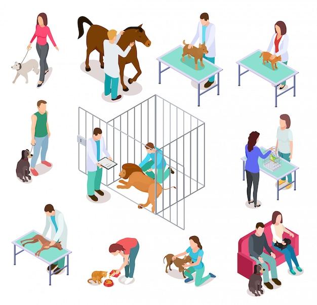 Isometrische veterinaire. dierenasiel mensen huisdier hond kat dierenarts vrijwilliger dierenartsen geneeskunde kliniek set Premium Vector
