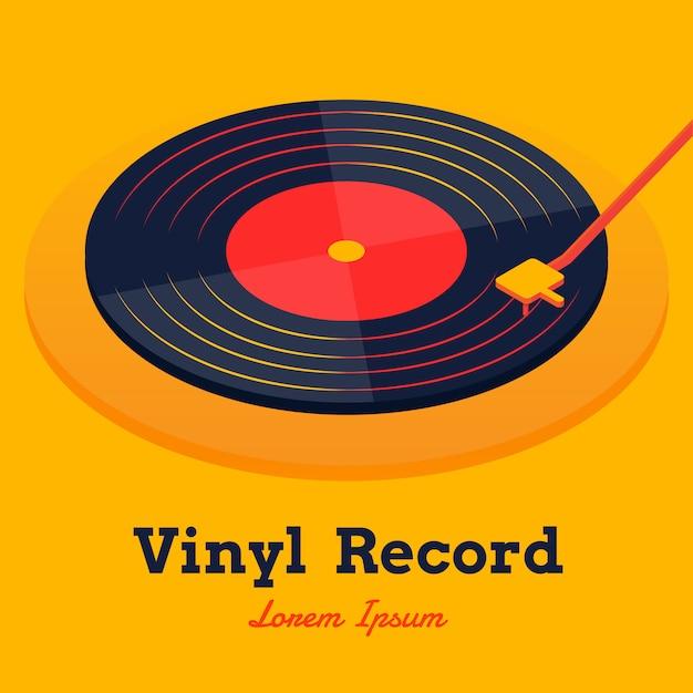 Isometrische vinyl record muziek vector Premium Vector