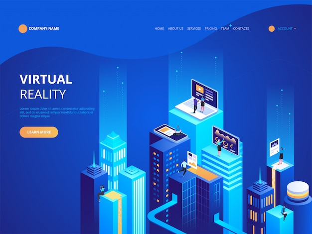 Isometrische virtual reality bestemmingspagina sjabloon Premium Vector