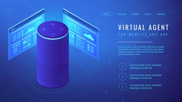 Isometrische virtuele agent-bestemmingspagina. Premium Vector