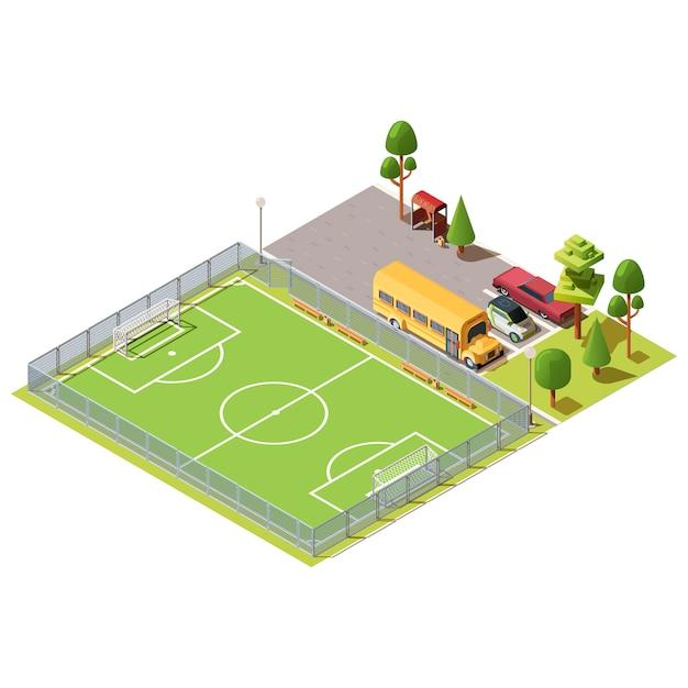 Isometrische voetbalveld in de buurt van parkeerplaats Gratis Vector
