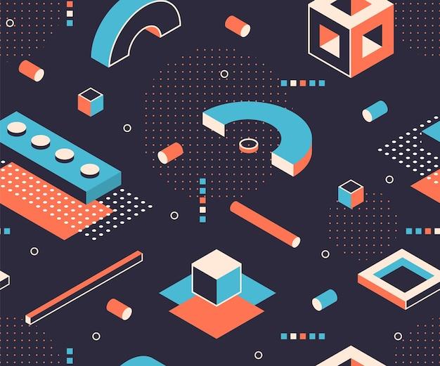 Isometrische vormen patroon. geometrische minimale achtergrond, abstracte bouw grafische elementen. vector 3d isometrische naadloze poster cijfers met abstracte geometrische vormen kubus vierkante driehoek Premium Vector