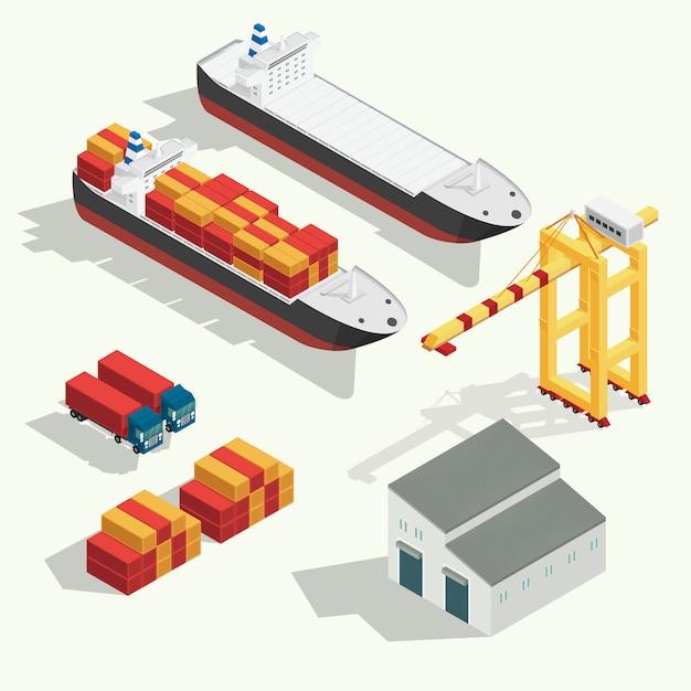 Isometrische vracht logistiek en transport containerschip met kraan import export transport industrie ingesteld pictogram. illustratie vector Premium Vector
