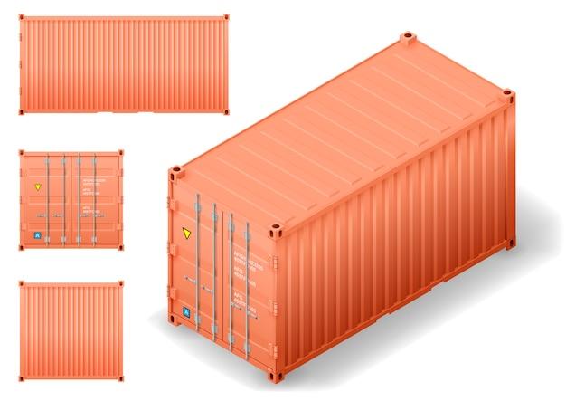 Isometrische vrachtcontainer Premium Vector