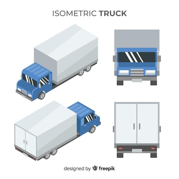Isometrische vrachtwagen in verschillende weergaven Gratis Vector