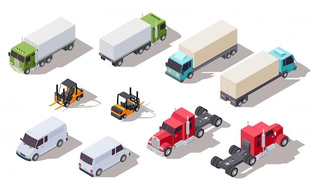 Isometrische vrachtwagen. transportvrachtwagens met container en bestelwagen, vrachtwagen en lader. 3d-voertuigen collectie Premium Vector