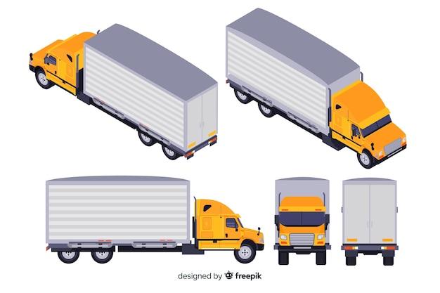 Isometrische vrachtwagenperspectieven collectie Gratis Vector