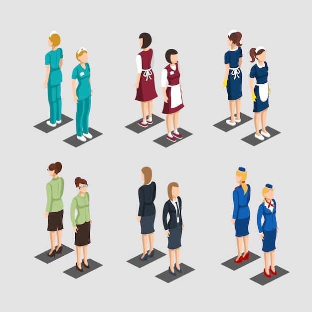 Isometrische vrouwelijke personages beroepen collectie Gratis Vector