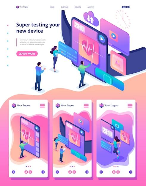 Isometrische weblandingspagina van een helder concept dat het team een nieuw apparaat test, de smartwatch Premium Vector