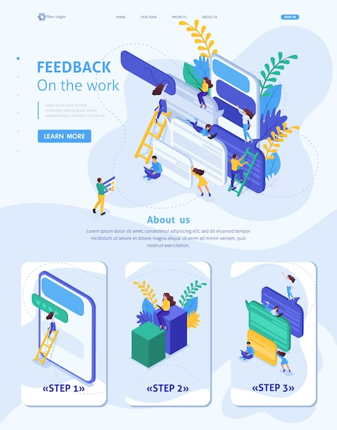 Isometrische websitesjabloon landingspagina internetgebruikers schrijven feedback over services Premium Vector