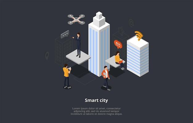 Isometrische weergave draadloze stadssamenstelling met mensen die moderne technologieën gebruiken. vector 3d illustratie in cartoon-stijl Premium Vector