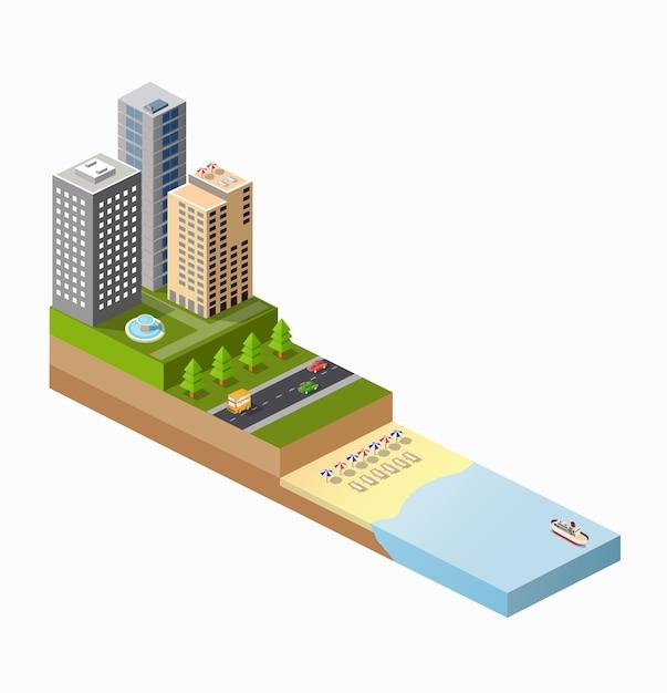 Isometrische weergave van het zonnige strand met parasols, ligstoelen en de blauwe zee met schepen Premium Vector