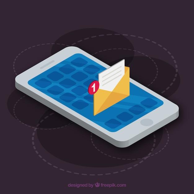 Isometrische weergave van mobiele telefoon met instagram post Gratis Vector