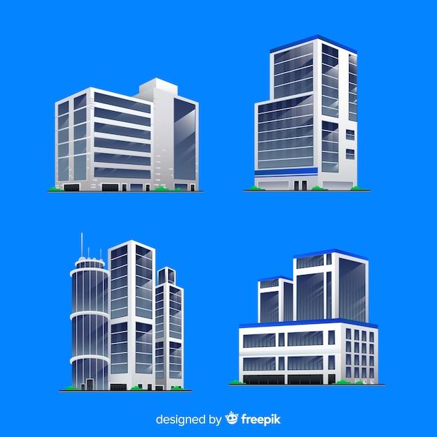 Isometrische weergave van moderne kantoorgebouwen Gratis Vector