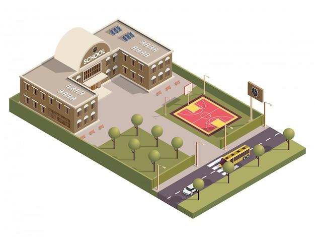 Isometrische weergave van schoolgebouw en basketbal grond tuin langs transport straat. Premium Vector
