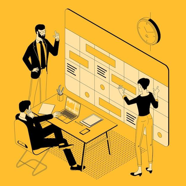 Isometrische weergave van teamplanningsschema en kalendertijdlijn Premium Vector