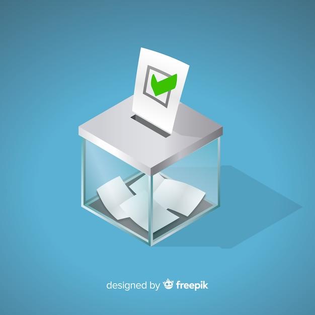 Isometrische weergave van verkiezingsbox Gratis Vector