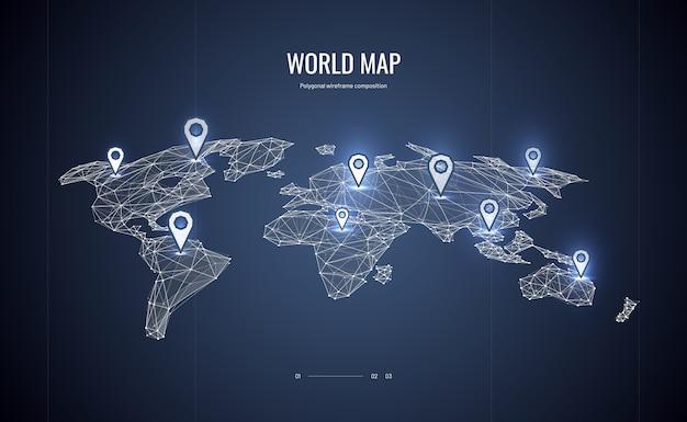 Isometrische wereldkaart Premium Vector