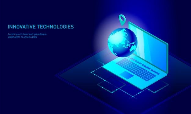 Isometrische wereldwijde netwerkactiviteiten op het gebied van de aarde Premium Vector