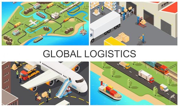 Isometrische wereldwijde transportsamenstelling met wereld logistiek netwerk voertuigen magazijnmedewerkers vliegtuig en vrachtwagen laadproces Gratis Vector