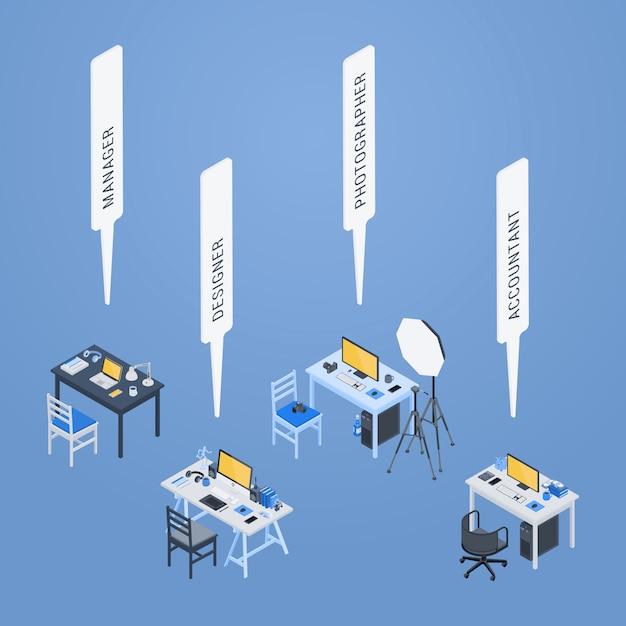 Isometrische werkplaatsen van de manager, ontwerper, fotograaf en accountant Premium Vector